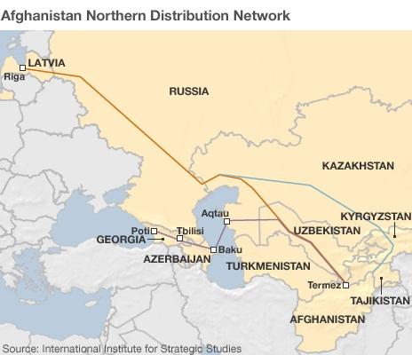Северная сеть доставки тылового обеспечения контингента США и НАТО в Афганистане. Источник: International Institute for Strategic Studies